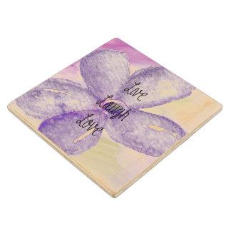 Purple Watercolor Live Flower Wood Coaster