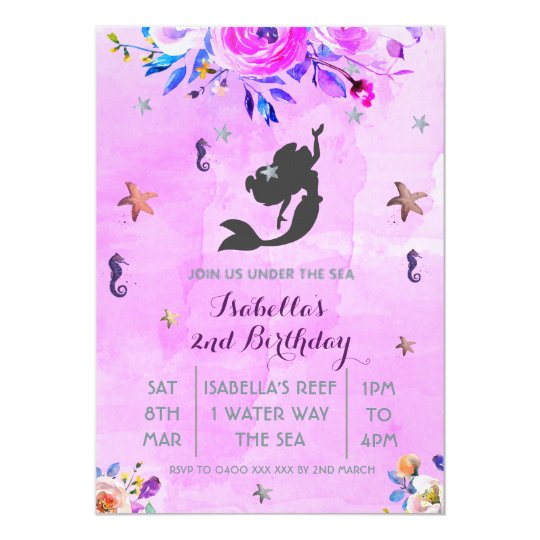 Purple Watercolor mermaid birthday girl invitation