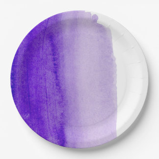 Purple Watercolor Paper Plate