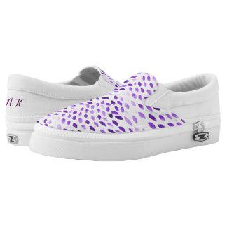 purple watercolor pattern slip on shoes