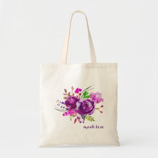 Purple Watercolor Peony Bouquet Tote Bag