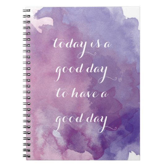 Purple Watercolor Positive Quote Notebook