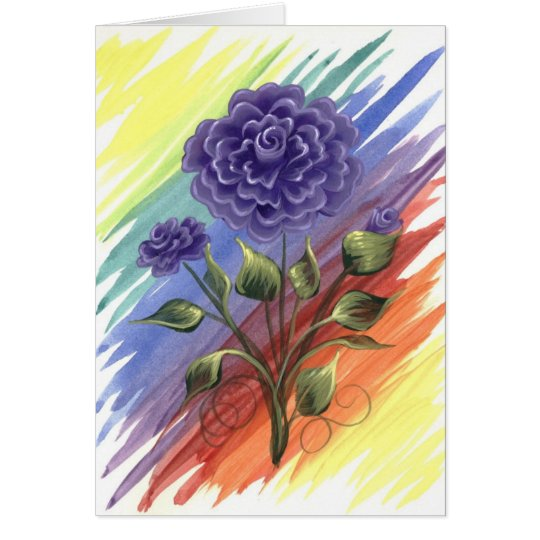 Purple Watercolor Rose Card