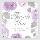 Purple Watercolor Roses Thank You Favour Stickers