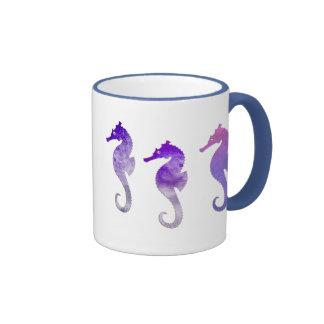 Purple Watercolor Seahorses Coffee Mug