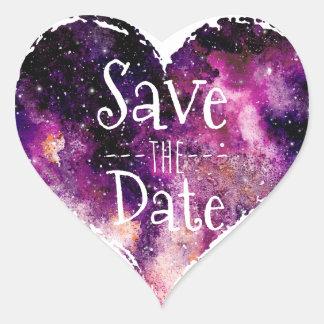 Purple Watercolor Starry Sky Save the Date Heart Sticker