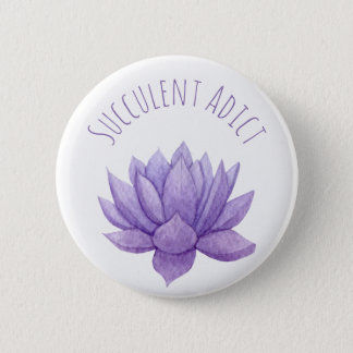 Purple Watercolor Succulent Button