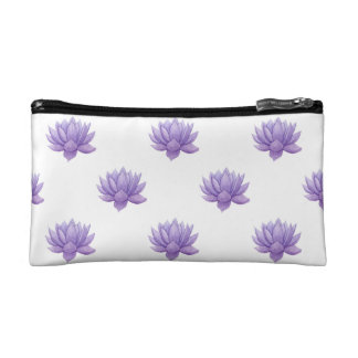 Purple Watercolor Succulent Cosmetic Bag
