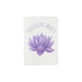 Purple Watercolor Succulent Passport Holder