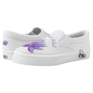 Purple watercolor succulent shoes
