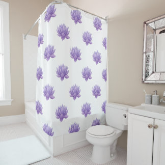 Purple Watercolor Succulent Shower Curtain
