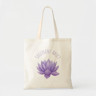 Purple Watercolor Succulent Tote Bag