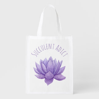 Purple Watercolor Succulent Tote Reusable Bag