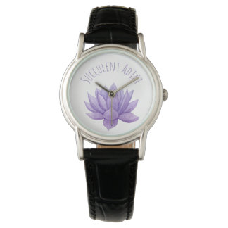 Purple Watercolor Succulent Watch