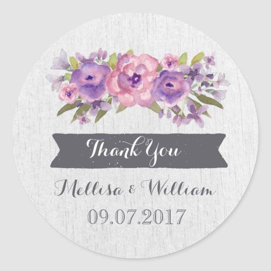 Purple Watercolor Vintage Floral Wedding Favour Classic Round