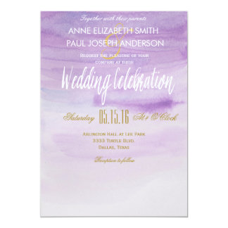 Purple Watercolor wedding invitation