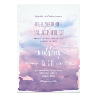 Purple Watercolor wedding invitation II