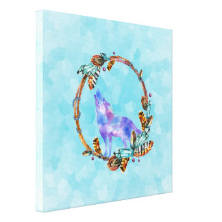 Purple Watercolor Wolf with a Boho Wreath Canvas Print