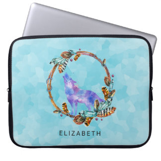 Purple Watercolor Wolf with a Boho Wreath Custom Laptop Computer Sleeves