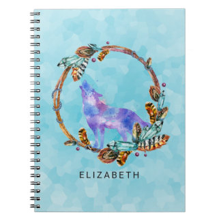 Purple Watercolor Wolf with a Boho Wreath Custom Notebooks