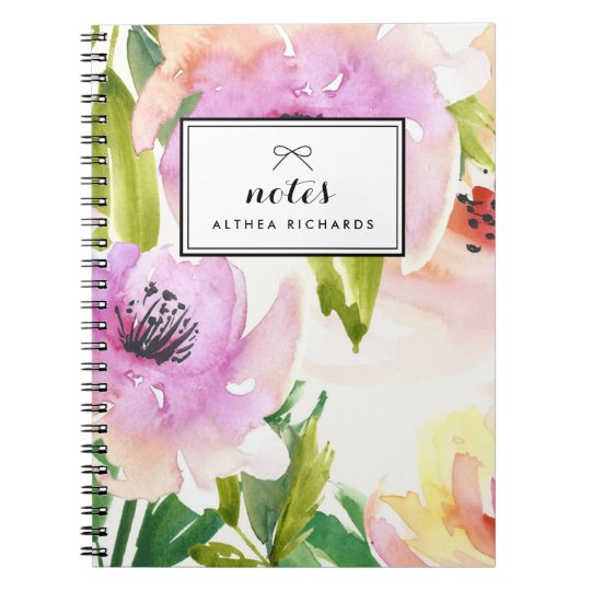 Purple Watercolour Lilies Floral Personalised Notebooks