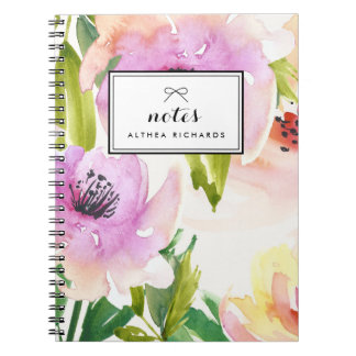 Purple Watercolour Lilies Floral Personalized Note Books