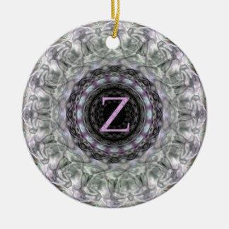 Purple Wave Star Monogram Z Round Ceramic Decoration