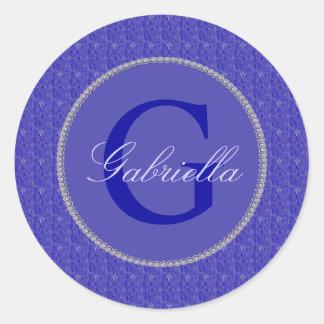 Purple Weave Glitzy Monogram Classic Round Sticker