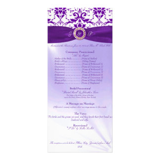 Purple Wedding Ceremony Program Rack Card