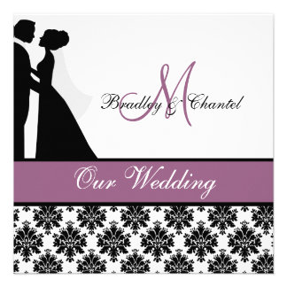 Purple Wedding Couple Wedding Invitation