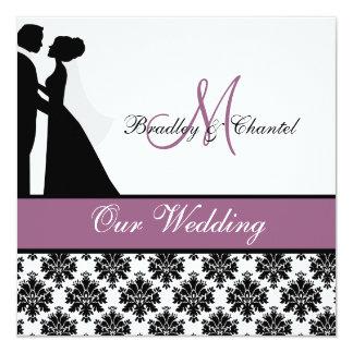 "Purple Wedding Couple Wedding Invitation 5.25"" Square Invitation Card"