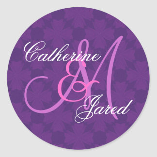 Purple Wedding Custom Monogram V29 Round Sticker