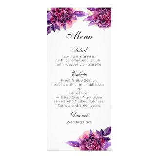 Purple wedding dinner menu. Floral menu party Customised Rack Card