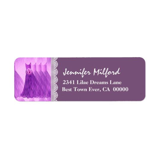 PURPLE Wedding Dresses Address Label V01