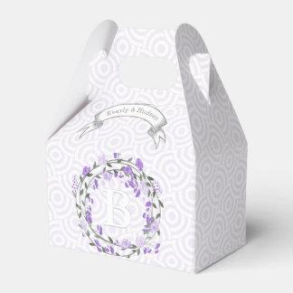 Purple Wedding Favor Box Photos Monogram Names Party Favour Box