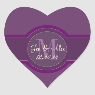 Purple Wedding Favour Stickers Heart Shaped