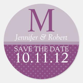 Purple Wedding Invitation Envelope Seal Monogram Round Sticker