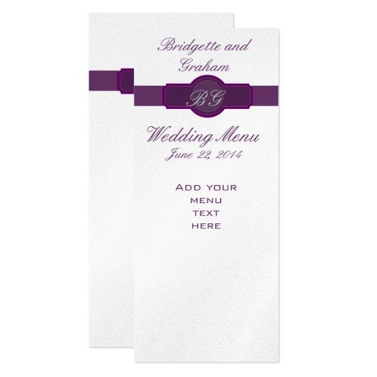 Purple Wedding Menu Cards on Silver Paper