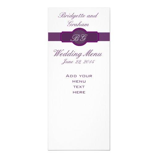 Purple Wedding Menu Cards on Silver Paper 10 Cm X 24 Cm Invitation Card