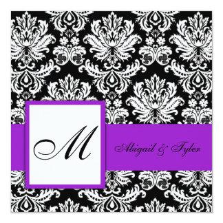 Purple Wedding Monogram Damask Invitation