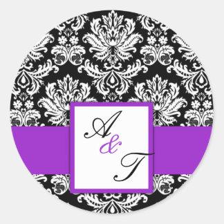 Purple Wedding Monogram Damask Seal Round Sticker