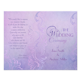 Purple wedding programs 11.5 cm x 14 cm flyer
