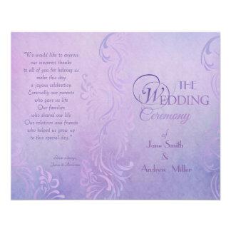 Purple wedding programs 11.5 cm x 14 cm flyer