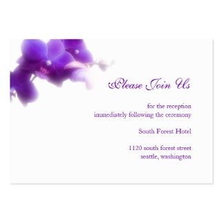 Purple Wedding Reception Enclosure Card Business Card