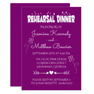Purple Wedding Rehearsal Dinner Butterfly & Hearts Card