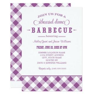 Purple Wedding Rehearsal Dinner   Casual BBQ 13 Cm X 18 Cm Invitation Card
