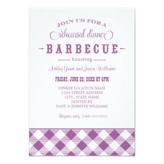 Purple Wedding Rehearsal Dinner | Casual BBQ 13 Cm X 18 Cm Invitation Card