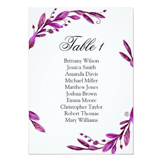 Purple wedding seating chart. Lavender table plan Card
