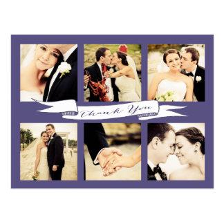 Purple Wedding Thank You Banner Typography Photo Postcard