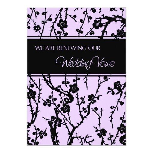 Purple Wedding Vow Renewal Invitation Card